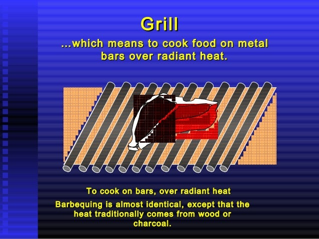 Grill  … which means to cook food on metal bars over radiant heat.  To cook on bars, over radiant heat Barbequing is almos...