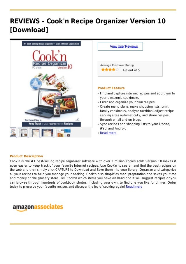 REVIEWS - Cookn Recipe Organizer Version 10[Download]ViewUserReviewsAverage Customer Rating4.0 out of 5Product FeatureFind...