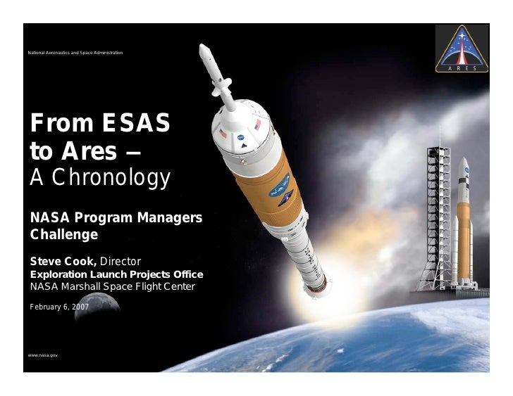 National Aeronautics and Space AdministrationFrom ESASto Ares –A ChronologyNASA Program ManagersChallengeSteve Cook, Direc...