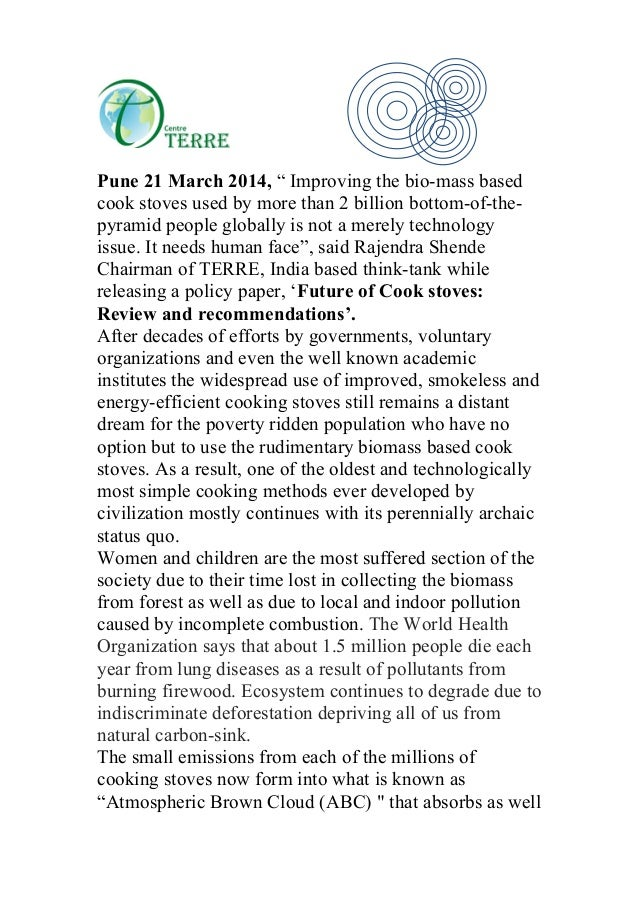 "Pune 21 March 2014, "" Improving the bio-mass based cook stoves used by more than 2 billion bottom-of-the- pyramid people g..."
