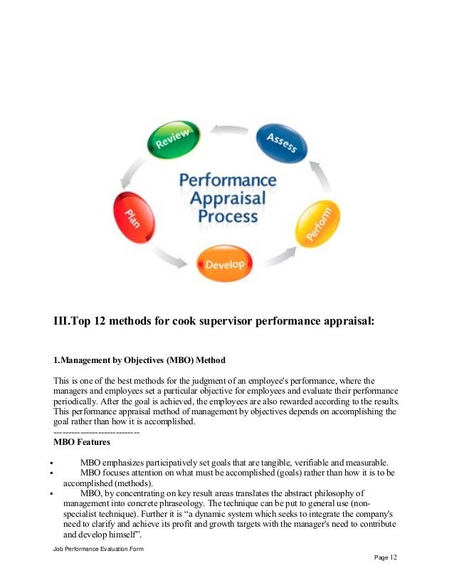 III.Top 12 methods for cook supervisor performance appraisal: 1.Management by Objectives (MBO) Method This is one of the b...