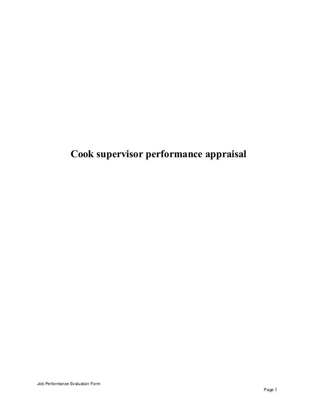 Cook supervisor performance appraisal Job Performance Evaluation Form Page 1