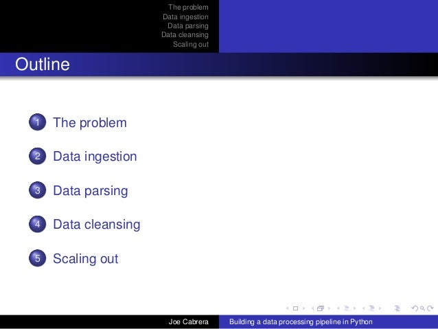 The problem Data ingestion Data parsing Data cleansing Scaling out Outline 1 The problem 2 Data ingestion 3 Data parsing 4...