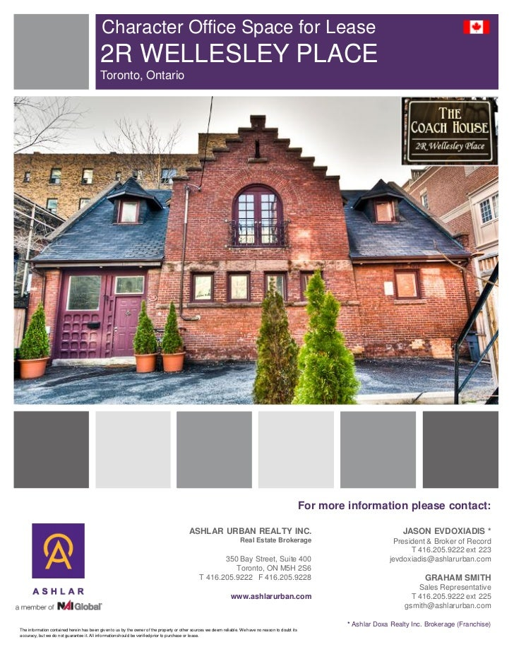 Character Office Space for Lease                                           2R WELLESLEY PLACE                             ...