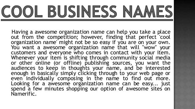 Cool Names: Cool Business Names