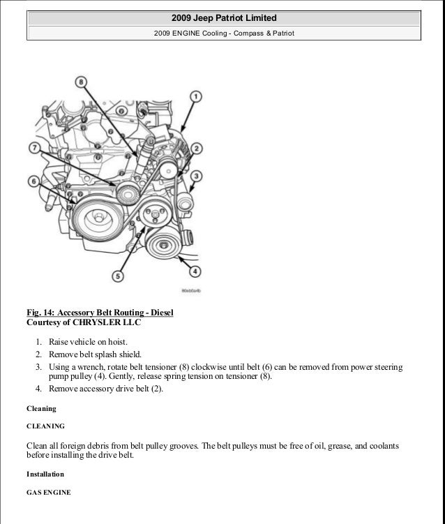 Fig. 14: Accessory Belt Routing - Diesel Courtesy of CHRYSLER LLC 1. Raise vehicle on hoist. 2. Remove belt splash shield....