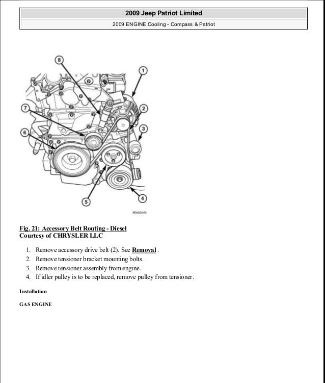 Fig. 21: Accessory Belt Routing - Diesel Courtesy of CHRYSLER LLC 1. Remove accessory drive belt (2). See Removal . 2. Rem...