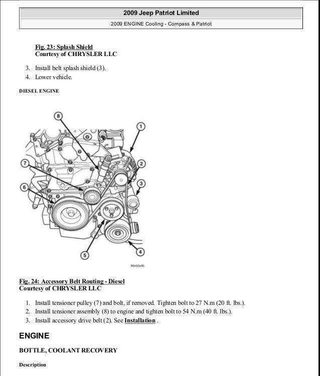 Fig. 23: Splash Shield Courtesy of CHRYSLER LLC 3. Install belt splash shield (3). 4. Lower vehicle. DIESEL ENGINE Fig. 24...