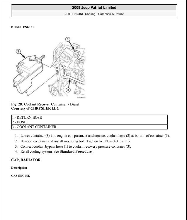 DIESEL ENGINE Fig. 28: Coolant Recover Container - Diesel Courtesy of CHRYSLER LLC 1. Lower container (3) into engine comp...