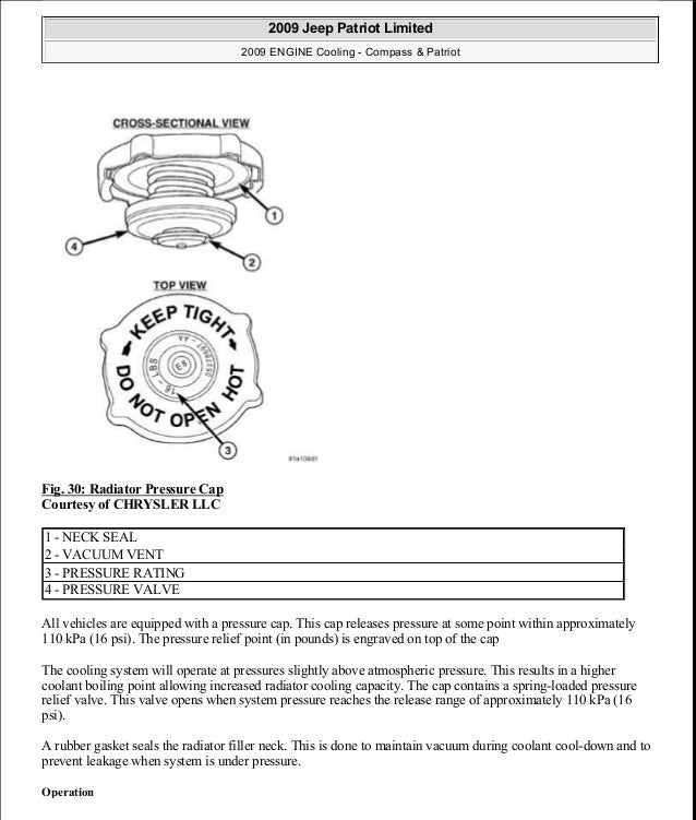 Fig. 30: Radiator Pressure Cap Courtesy of CHRYSLER LLC All vehicles are equipped with a pressure cap. This cap releases p...