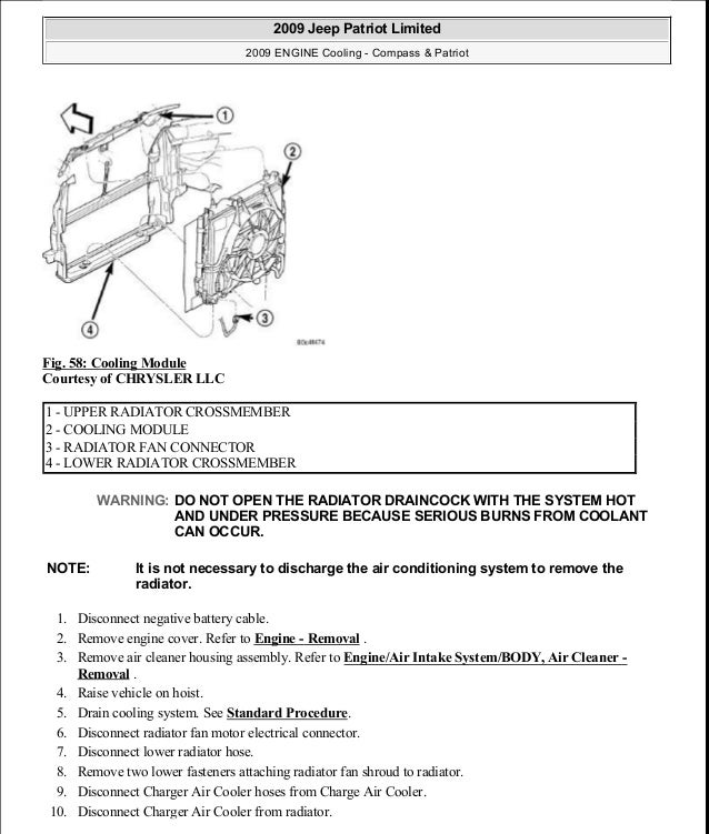 Fig. 58: Cooling Module Courtesy of CHRYSLER LLC 1. Disconnect negative battery cable. 2. Remove engine cover. Refer to En...