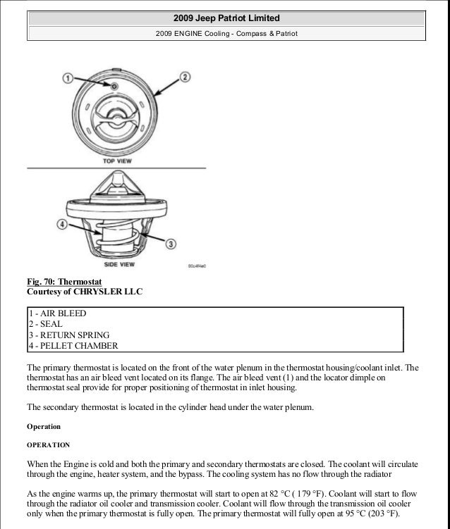 Fig. 70: Thermostat Courtesy of CHRYSLER LLC The primary thermostat is located on the front of the water plenum in the the...