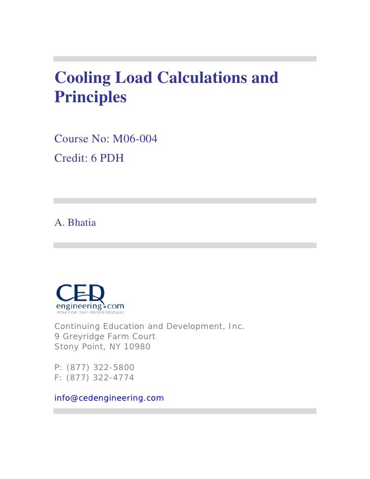 Cooling Load Calculations andPrinciplesCourse No: M06-004Credit: 6 PDHA. BhatiaContinuing Education and Development, Inc.9...