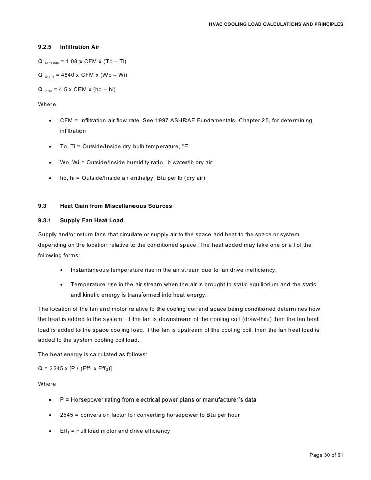 Cooling load calculations and principles for Table 6 2 occupant load
