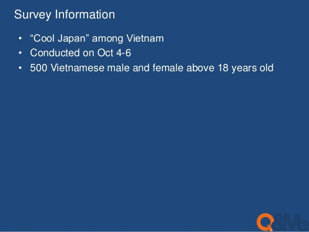 """Survey Information  • """"Cool Japan"""" among Vietnam  • Conducted on Oct 4-6  • 500 Vietnamese male and female above 18 years ..."""