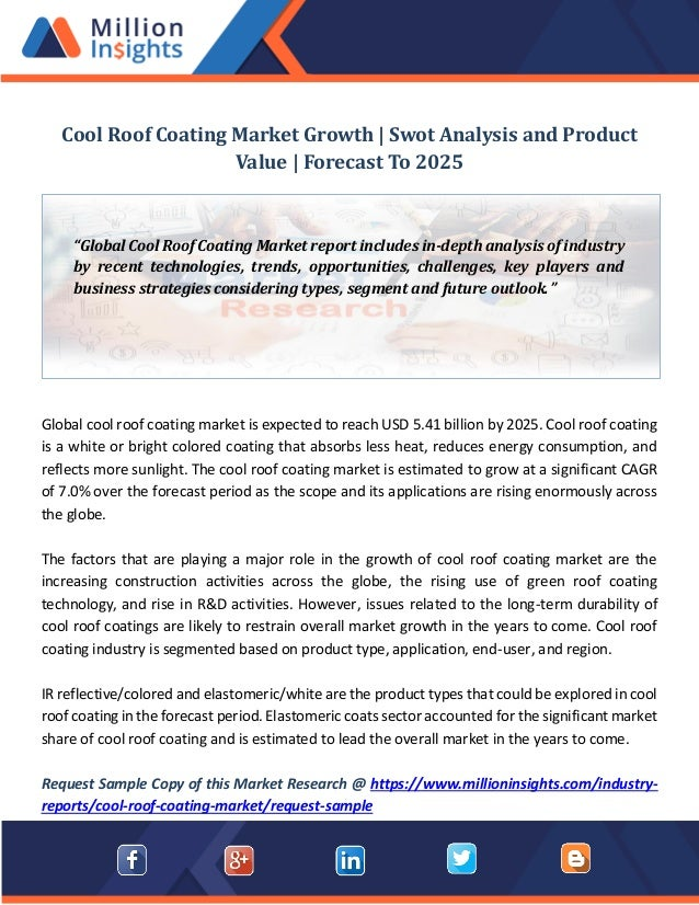 Cool roof coating market growth swot analysis and product