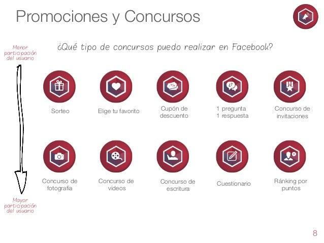 Promociones y Concursos Menor participación del usuario  ¿Qué tipo de concursos puedo realizar en Facebook?  Sorteo  Elige...