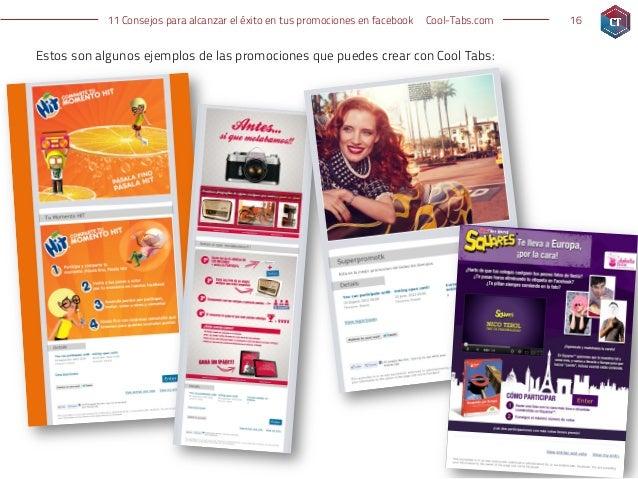 11 Consejos para alcanzar el éxito en tus promociones en facebook   Cool-Tabs.com   16Estos son algunos ejemplos de las pr...
