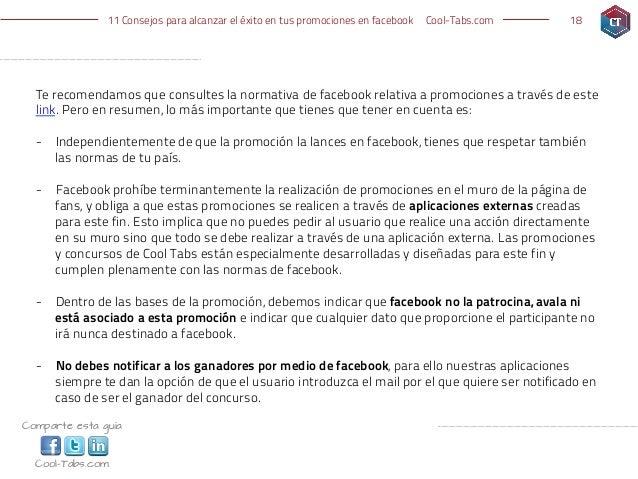 11 Consejos para alcanzar el éxito en tus promociones en facebook   Cool-Tabs.com   18  Te recomendamos que consultes la n...