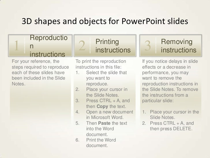 3D shapes and objects for PowerPoint slides        Reproductio                                      Printing              ...