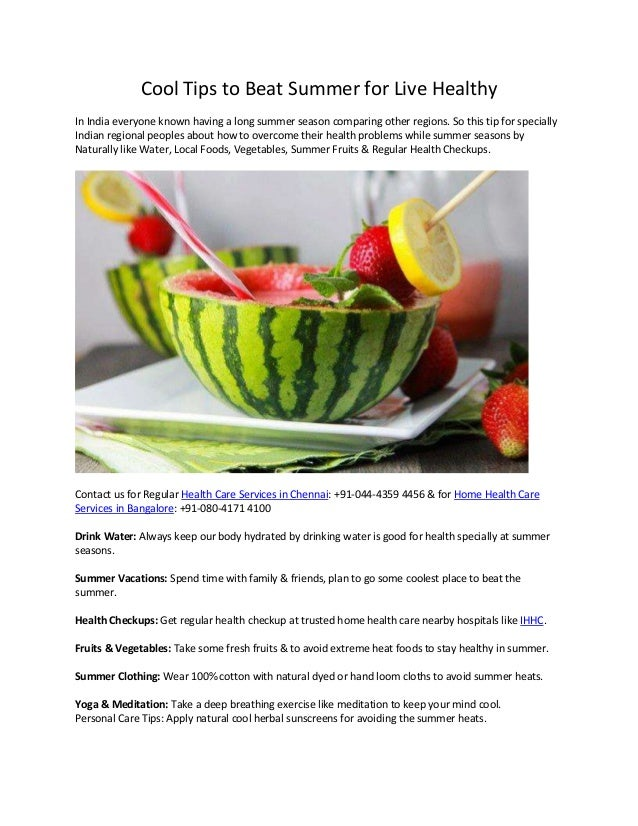 Cool Tips To Beat Summer For Live Healthy In India Everyone Known Having A Long