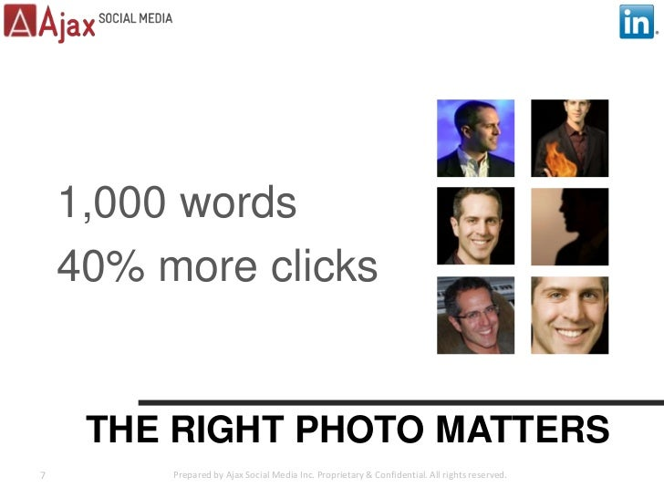 THE RIGHT PHOTO MATTERS<br />1,000 words<br />40% more clicks<br />7<br />Prepared by Ajax Social Media Inc. Proprietary &...