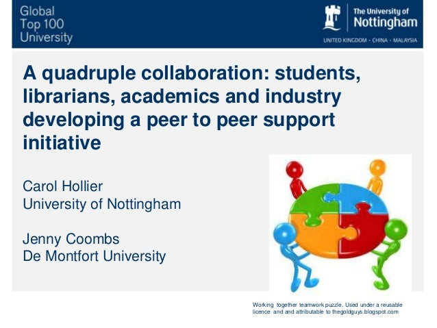 A quadruple collaboration: students, librarians, academics and industry developing a peer to peer support initiative Carol...