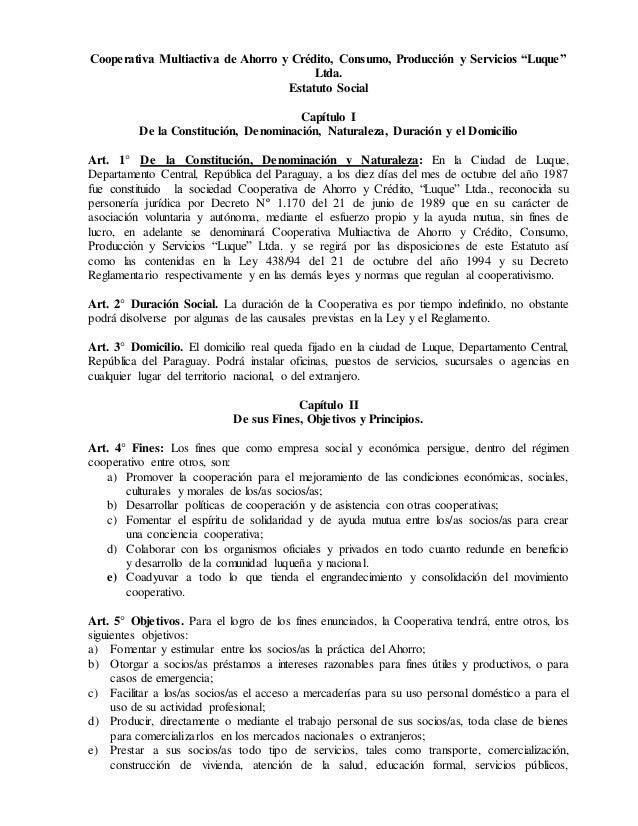 """Cooperativa Multiactiva de Ahorro y Crédito, Consumo, Producción y Servicios """"Luque"""" Ltda. Estatuto Social Capítulo I De l..."""