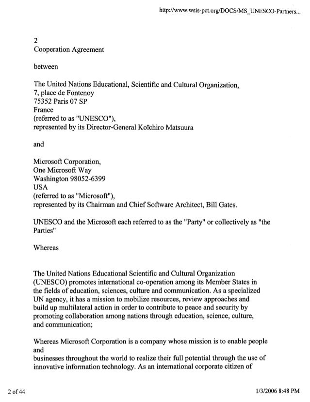 Coop Agreement Un Microsoft 2006 45pgs Pol