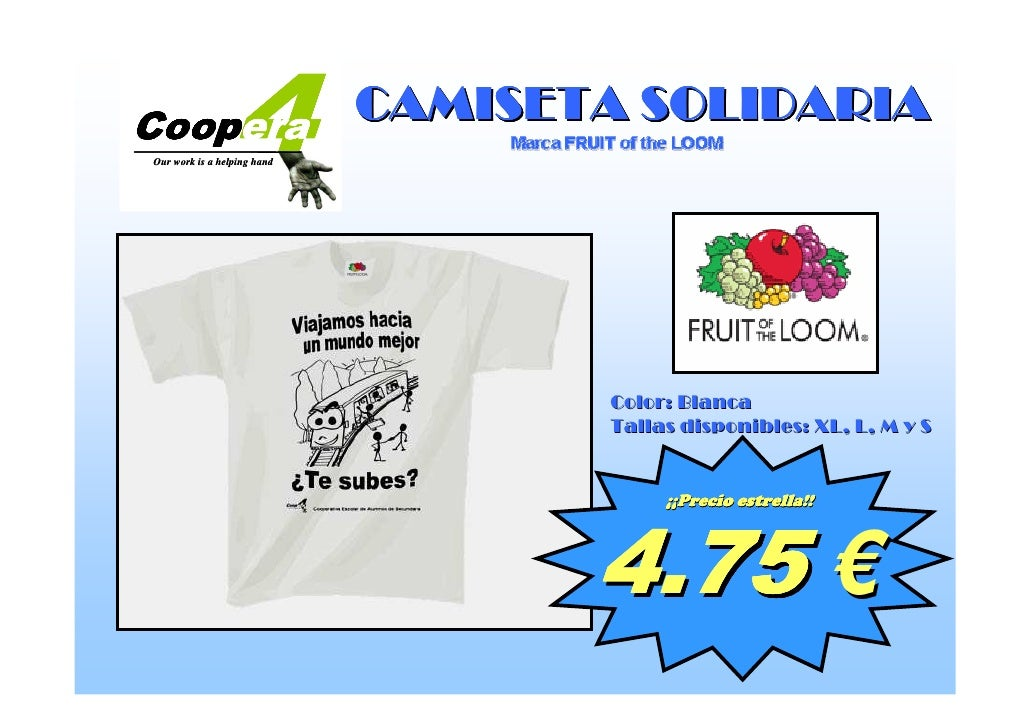 4         CAMISETA SOLIDARIA Coopera Coopera Our work is a helping hand                                  Color: Blanca    ...