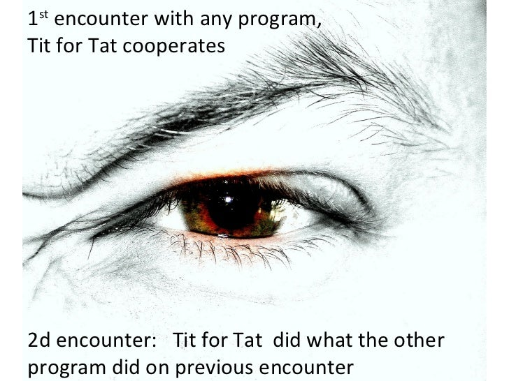 1 st  encounter with any program,  Tit for Tat cooperates   2d encounter:  Tit for Tat  did what the other program did on ...