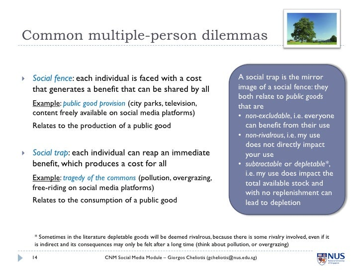 Common multiple-person dilemmas     Social fence: each individual is faced with a cost                                   ...