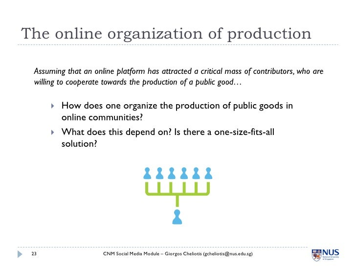 The online organization of production   Assuming that an online platform has attracted a critical mass of contributors, wh...