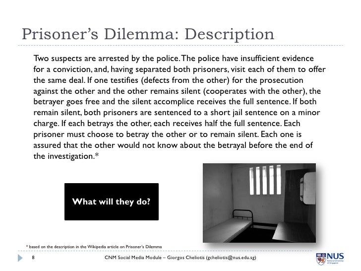 Prisoner's Dilemma: Description    Two suspects are arrested by the police. The police have insufficient evidence    for a...
