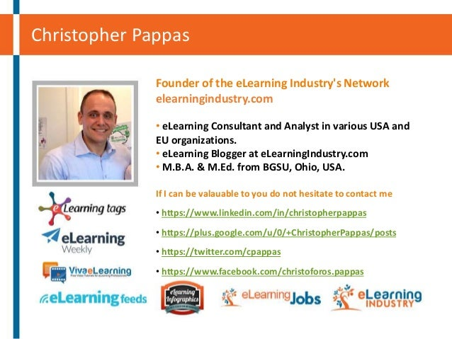 Christopher Pappas Founder of the eLearning Industry's Network elearningindustry.com • eLearning Consultant and Analyst in...