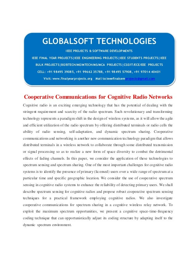 IEEE 2014 NS2 NETWORKING PROJECTS Cooperative communications for cog…