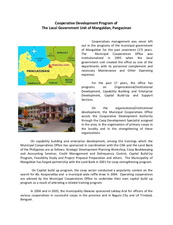 Cooperative Development Program of               The Local Government Unit of Mangaldan, Pangasinan                       ...