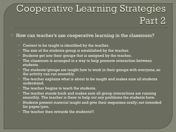 Collaborative Work In The Classroom ~ Cooperative learning in education