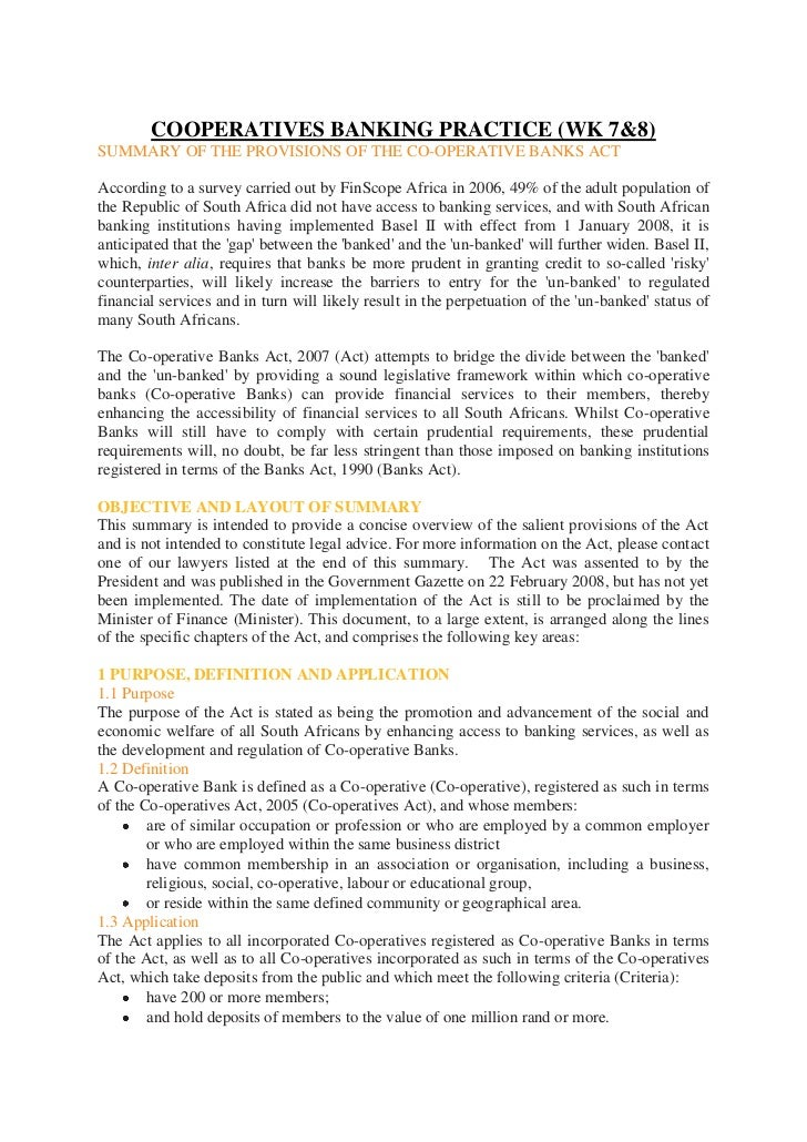 COOPERATIVES BANKING PRACTICE (WK 7&8)SUMMARY OF THE PROVISIONS OF THE CO-OPERATIVE BANKS ACTAccording to a survey carried...