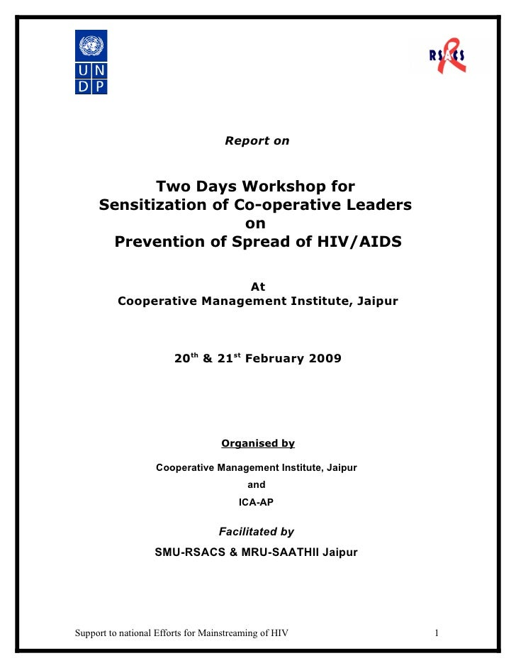 Report on               Two Days Workshop for      Sensitization of Co-operative Leaders                        on       P...