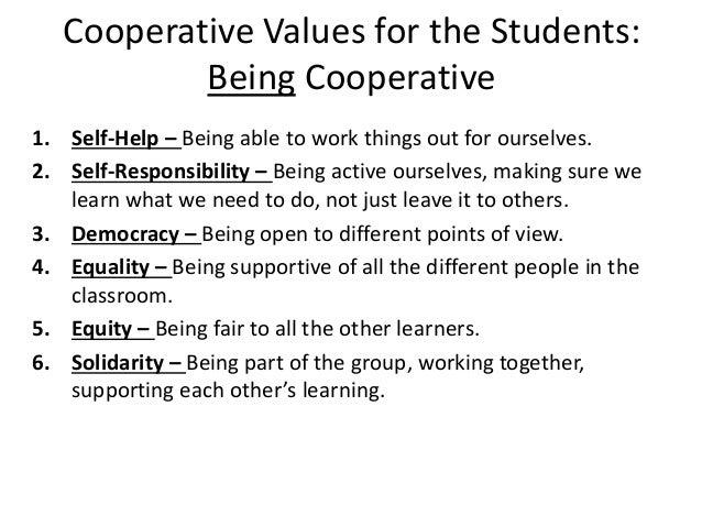 Cooperative values tutor activities
