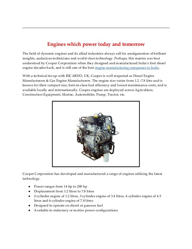Coopercorp engines