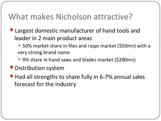 cooper industries nicholson case study solution Cooper industries inc case solution, the acting president of a large industrial company must decide whether 1) to acquire a small hand-tool company, and if so, 2) the value and the form that t.