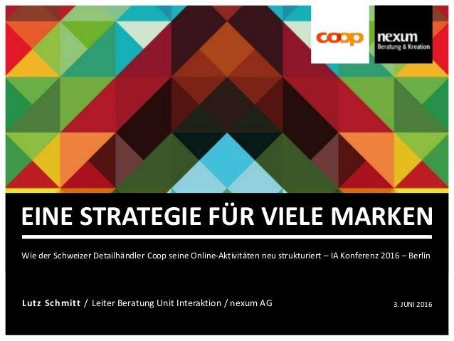 Lutz Schmitt / Leiter Beratung Unit Interaktion / nexum AG 3. JUNI 2016 EINE STRATEGIE FÜR VIELE MARKEN Wie der Schweizer ...