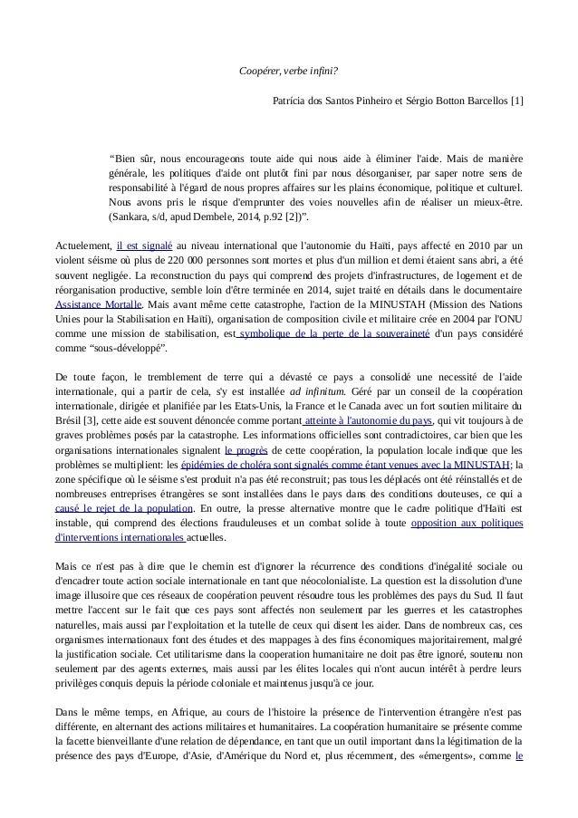 """Coopérer, verbe infini?  Patrícia dos Santos Pinheiro et Sérgio Botton Barcellos [1]  """"Bien sûr, nous encourageons toute a..."""