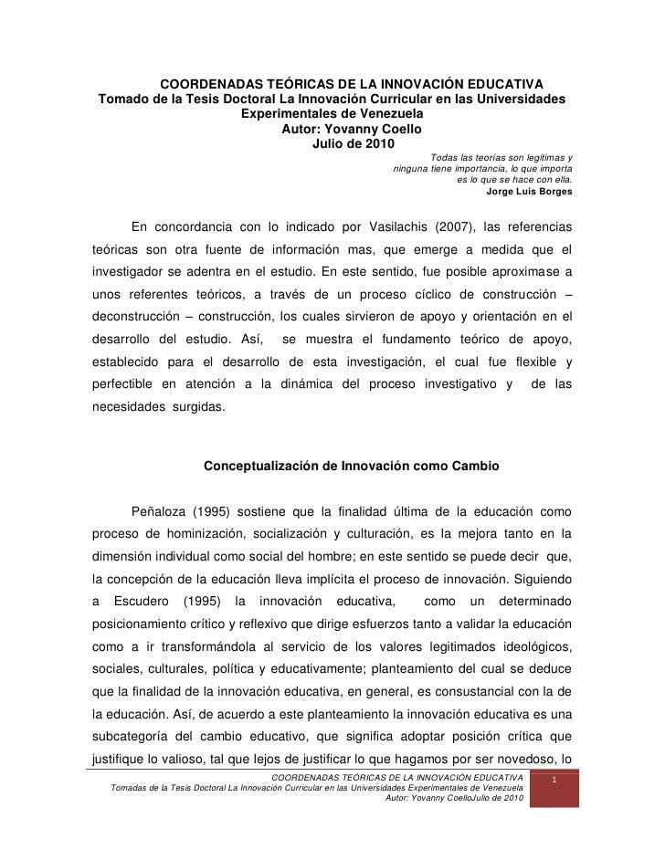 COORDENADAS TEÓRICAS DE LA INNOVACIÓN EDUCATIVA Tomado de la Tesis Doctoral La Innovación Curricular en las Universidades ...