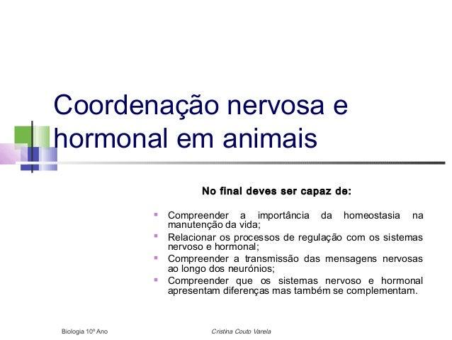 Coordenação nervosa e hormonal em animais No final deves ser capaz de:  Compreender a importância da homeostasia na manut...
