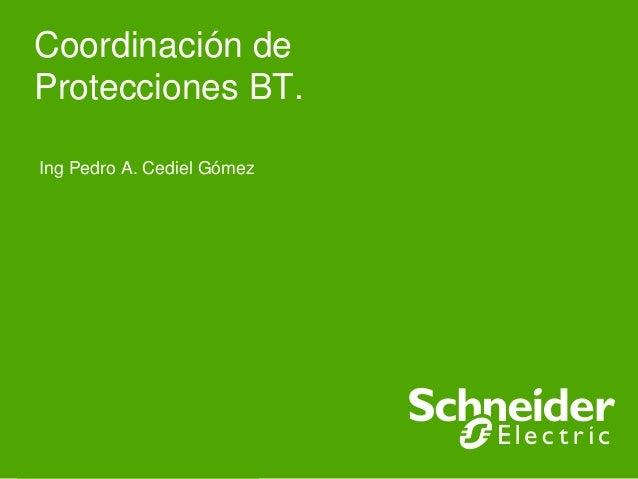 Coordinación deProtecciones BT. Ing Pedro A. Cediel GómezSchneider Electric - Jornadas Técnicas Barranquillla- Mayo de 200...