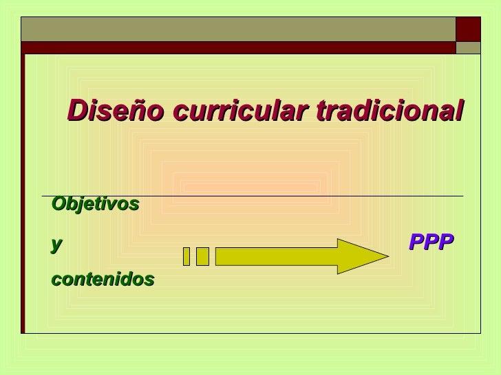 Diseño curricular tradicional  Objetivos y   PPP contenidos