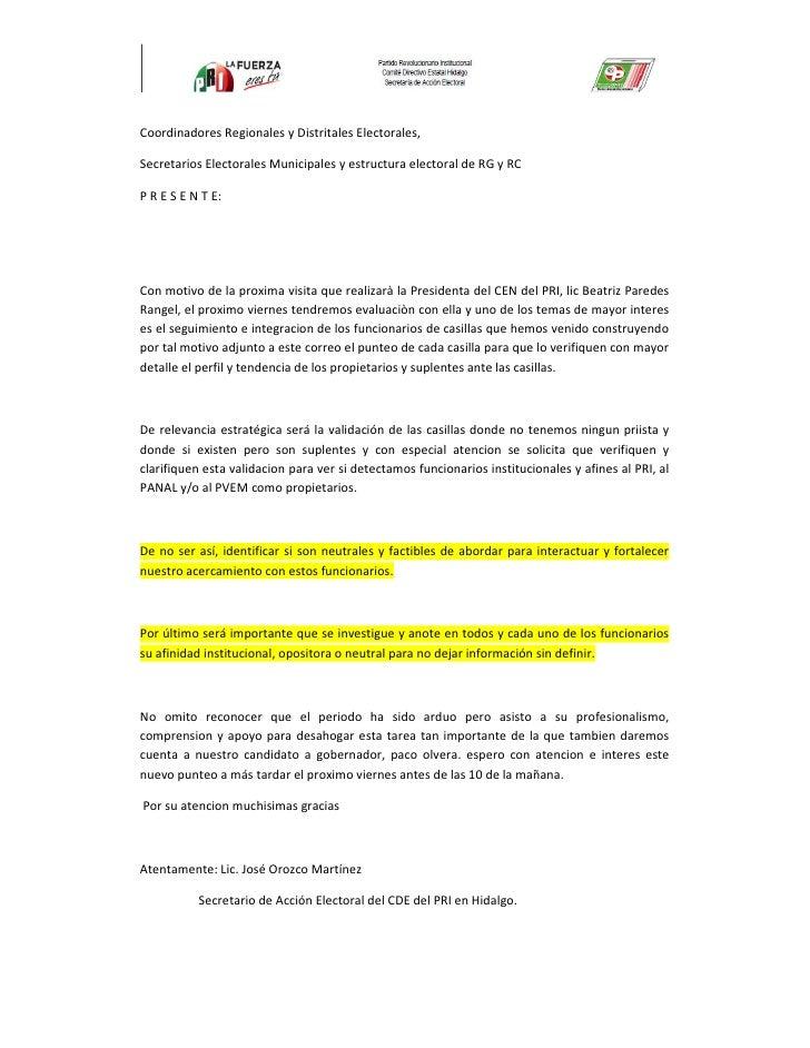 Coordinadores Regionales y Distritales Electorales,  Secretarios Electorales Municipales y estructura electoral de RG y RC...
